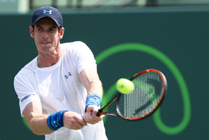 Andy Murray in action wearing Under Armour sportswear